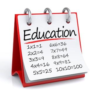 Formazione scolastica. illustrazione 3d di un calendario su un pavimento/sfondo bianco con icona.