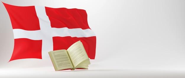 Concetto di educazione. 3d del libro e della bandiera della danimarca su sfondo bianco.