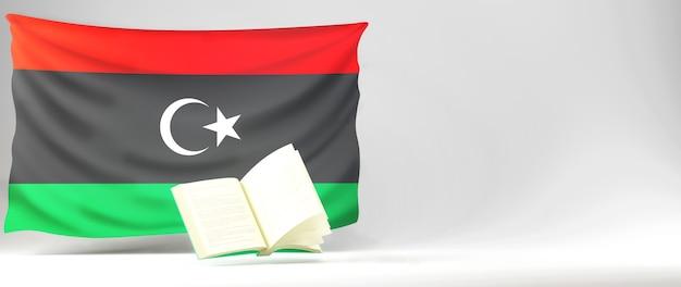 Concetto di educazione. 3d del libro e della libia bandiera su sfondo bianco.