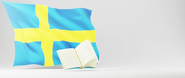 Concetto di educazione. 3d del libro e della bandiera della svezia sul muro bianco. concetto isometrico moderno design piatto di educazione. di nuovo a scuola.