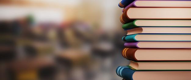 Concetto di educazione. 3d di libri su sfocatura dello sfondo. concetto isometrico moderno design piatto di educazione. di nuovo a scuola.