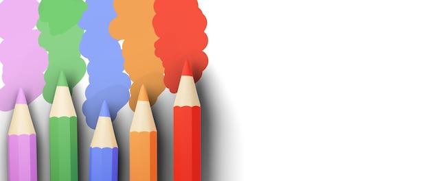 Concetto di educazione. 3d di matite colorate su sfondo bianco.