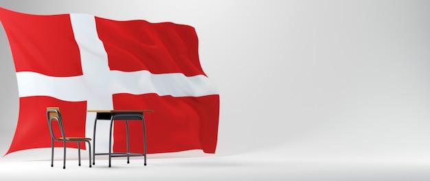 Concetto di educazione. 3d della scrivania e bandiera della danimarca su sfondo bianco.