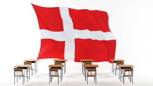 Concetto di educazione. 3d di scrivanie e bandiera della danimarca su sfondo bianco.