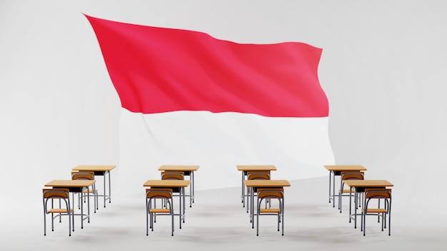 Concetto di educazione. 3d di scrivanie e bandiera dell'indonesia. concetto isometrico moderno design piatto di educazione. di nuovo a scuola.