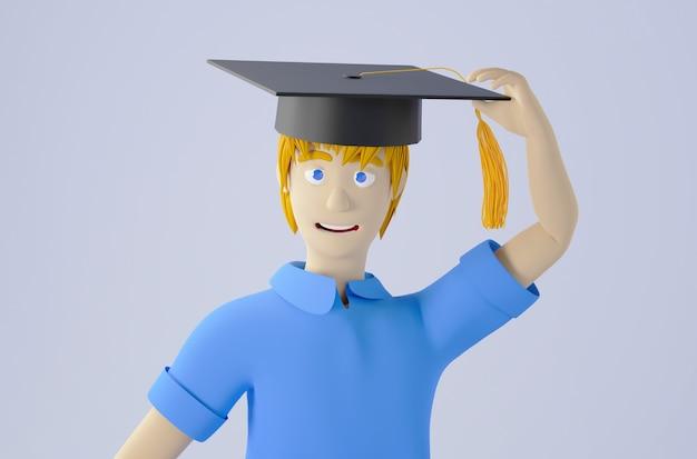 Concetto di educazione. 3d di un bambino che indossa un cappello laureato sul muro bianco. concetto isometrico moderno design piatto di educazione. di nuovo a scuola.