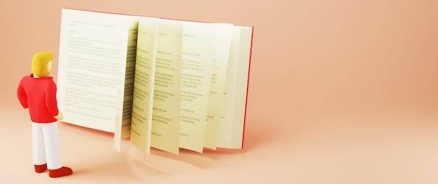 Concetto di educazione. 3d dell'uomo e del libro su sfondo arancione. concetto isometrico moderno design piatto di educazione. di nuovo a scuola.