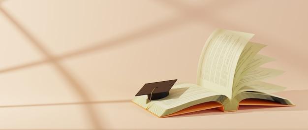 Concetto di educazione. rappresentazione 3d del libro e di un cappello laureato su fondo arancio.