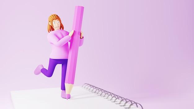 Concetto di educazione. 3d di donna e libro su sfondo rosa. concetto isometrico moderno design piatto di educazione. di nuovo a scuola.
