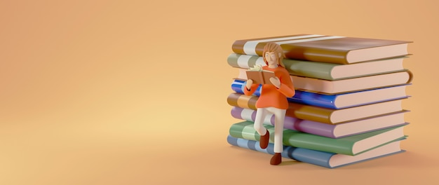 Concetto di educazione. 3d di una donna ha letto il libro su sfondo arancione.