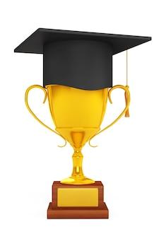 Concetto di educazione. cappello di laurea su golden trophy su sfondo bianco. rendering 3d.