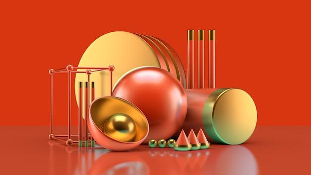 Composizione efficace con un gruppo di oggetti, sfondo e astrazione. illustrazione 3d,