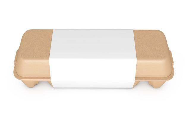 Scatola di cartone marrone uovo con etichetta vuota con spazio libero per il tuo design su sfondo bianco. rendering 3d