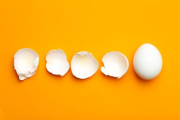 Uovo e guscio d'uovo su uno sfondo vuoto colorato. concetto di cibo minimo, cibo creativo.