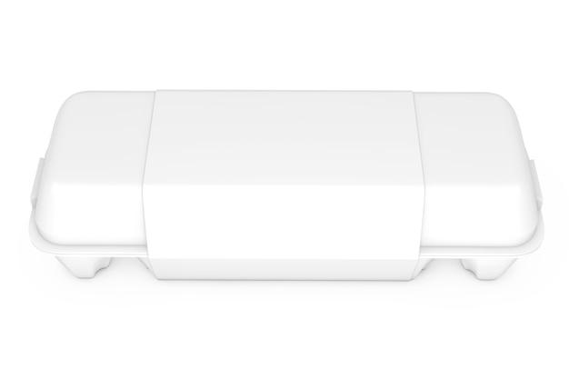 Scatola di cartone bianco d'uovo con etichetta vuota con spazio libero per il tuo design su sfondo bianco. rendering 3d