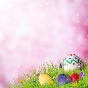 Uova in erba verde con fiori, sfondo felice pasqua