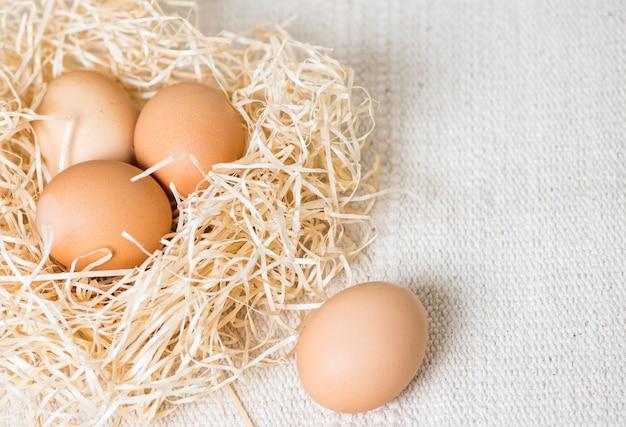 Uova in un nido sullo sfondo del tessuto trama