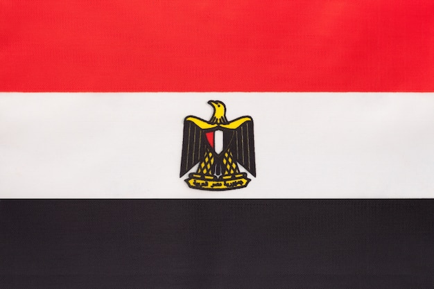 Bandiera nazionale tessuto egitto, sfondo tessile simbolo del paese internazionale del mondo africano