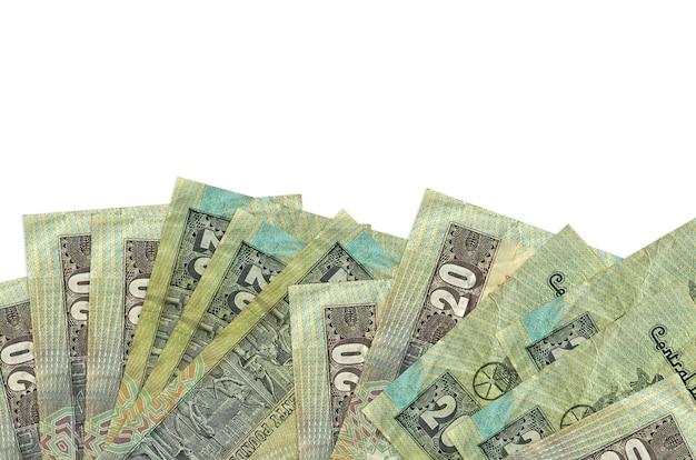 Le banconote in sterline egiziane si trovano sul lato inferiore dello schermo isolato su sfondo bianco