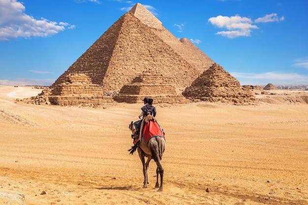 Egiziani sui cammelli vicino al complesso delle piramidi di giza, egitto.