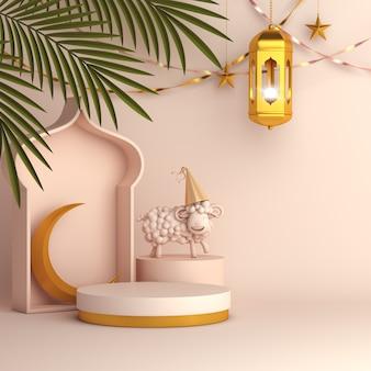Eid al adha mubarak sfondo con foglie di palma lanterna mezzaluna e pecora