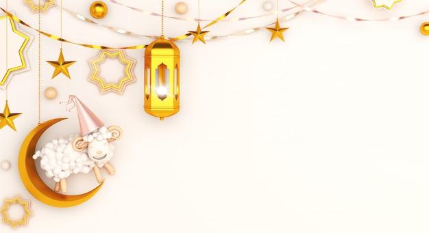Eid al adha mubarak sfondo con lanterna mezzaluna di pecora