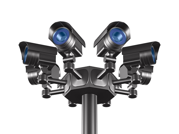 Otto telecamere di sicurezza. rendering 3d isolato