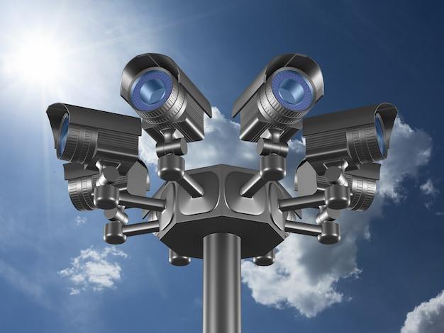 Otto telecamere di sicurezza in cielo. rendering 3d