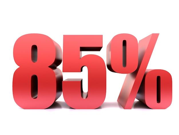Ottantacinque per cento 85% simbolo. rendering 3d