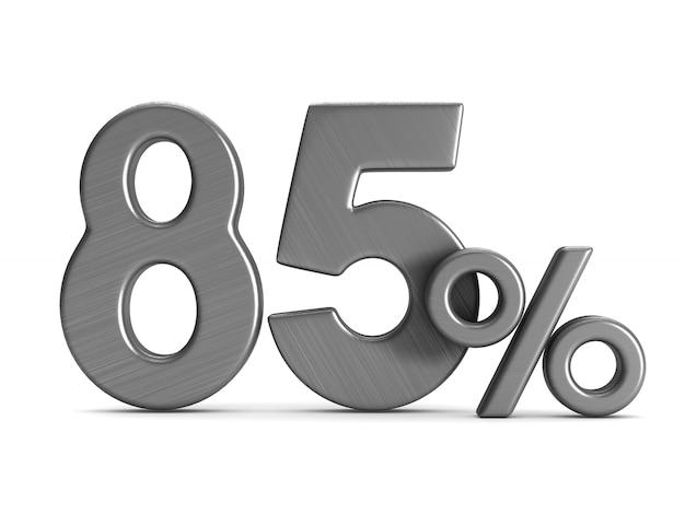 L'ottantacinque per cento su sfondo bianco Foto Premium