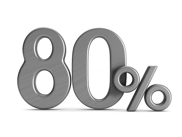 L'ottanta per cento su sfondo bianco Foto Premium