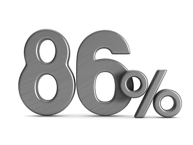 L'ottantasei percento su sfondo bianco