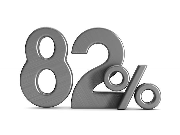 L'ottantadue percento su sfondo bianco