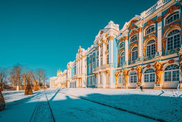 Palazzo ekaterininsky, tsarskoye selo (pushkin) sobborgo di san pietroburgo. russia.