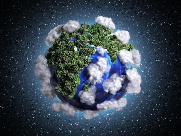 Ekokontsept conservazione della natura il pianeta è coperto di nuvole di alberi