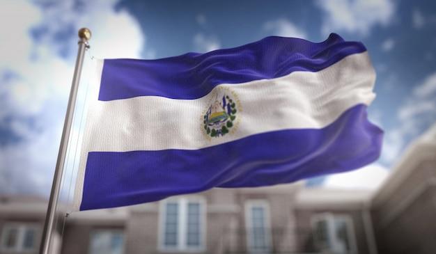 El salvador bandiera rendering 3d sullo sfondo del cielo blu