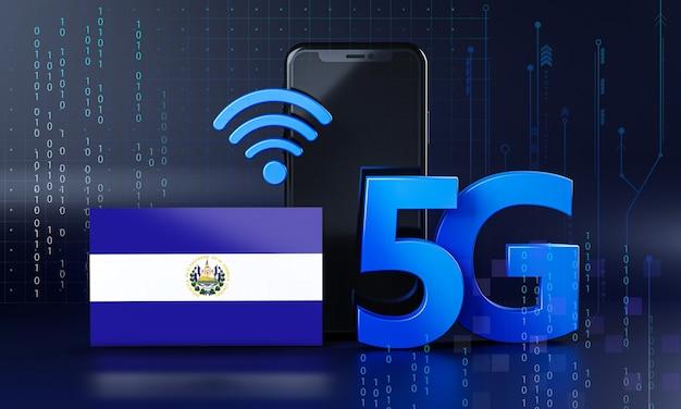 El salvador pronto per il concetto di connessione 5g. sfondo di tecnologia smartphone rendering 3d
