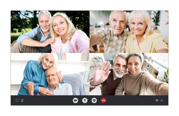 Coppie di anziani che parlano insieme tramite una videochiamata
