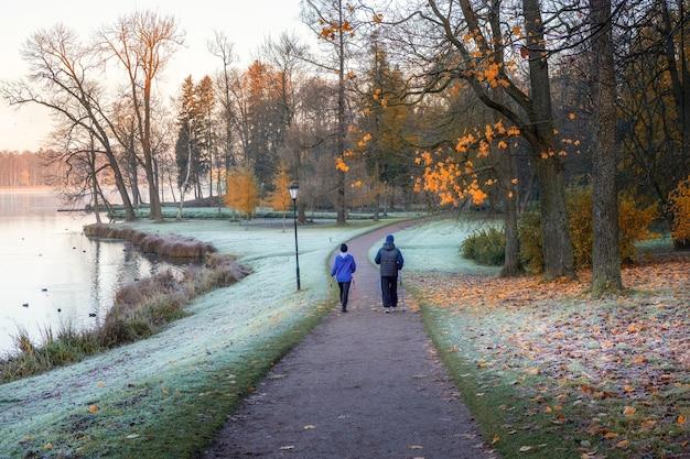 Una coppia di anziani in una passeggiata mattutina in un nebbioso parco di novembre con la brina sull'erba.