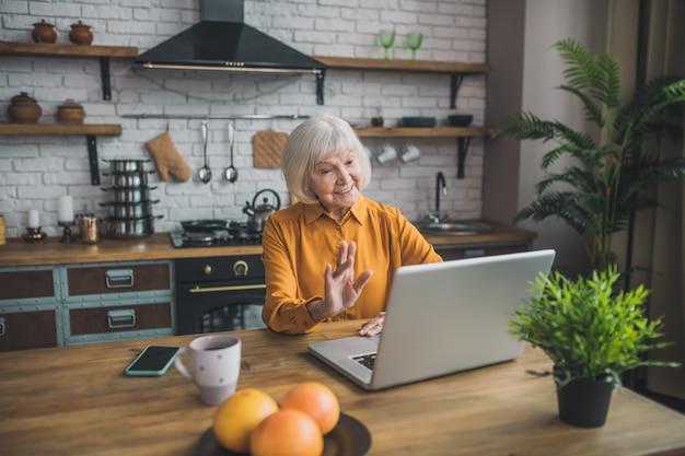 Signora anziana che ha una videochiamata sul laptop
