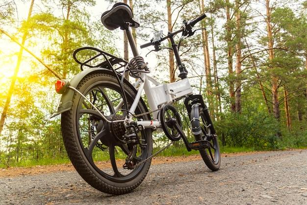 Bici elettrica su una pista asfaltata nella foresta senza persone. il concetto di sano camminare e cavalcare all'aperto nel parco. bicicletta sullo sfondo di una pineta estiva.