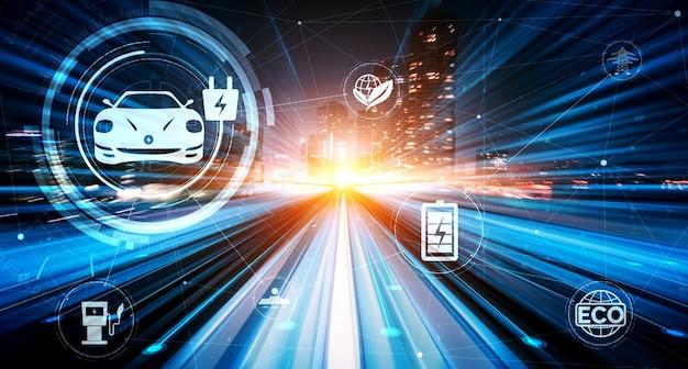 Grafica di realtà virtuale per auto elettrica su strada nella stazione di ricarica ev ad alta velocità per energia verde ed energia ecologica prodotta da una fonte sostenibile da fornire alla stazione al fine di ridurre la co2.