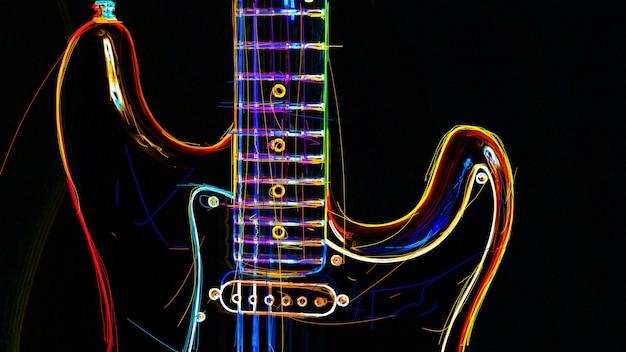 Chitarra elettrica . pittura al neon di colore astratto.