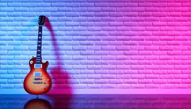 Chitarra elettrica contro un muro di mattoni in luce al neon, 3d'illustrazione