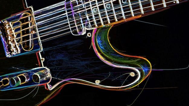 Chitarra elettrica . pittura al neon astratta di colore. copia spazio