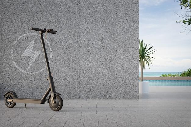 Scooter elettrico sulla terrazza vicino alla piscina nella moderna casa sulla spiaggia