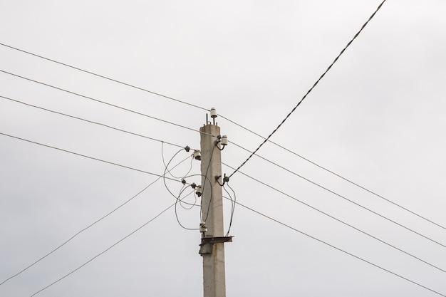 Palo elettrico con linea di cavi di alimentazione in una giornata nuvolosa