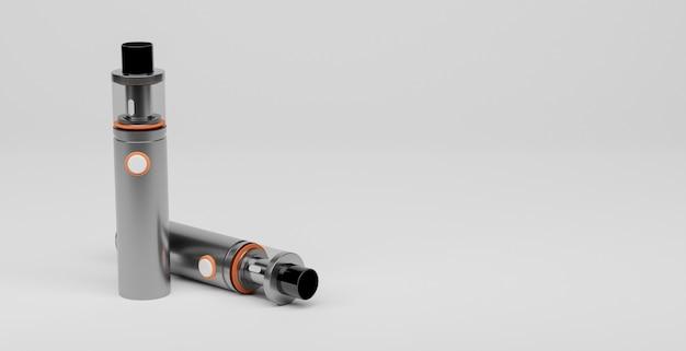 Sigari elettronici argento con dettagli arancioni su sfondo bianco e spazio per il testo. rendering 3d di concetto di vaper