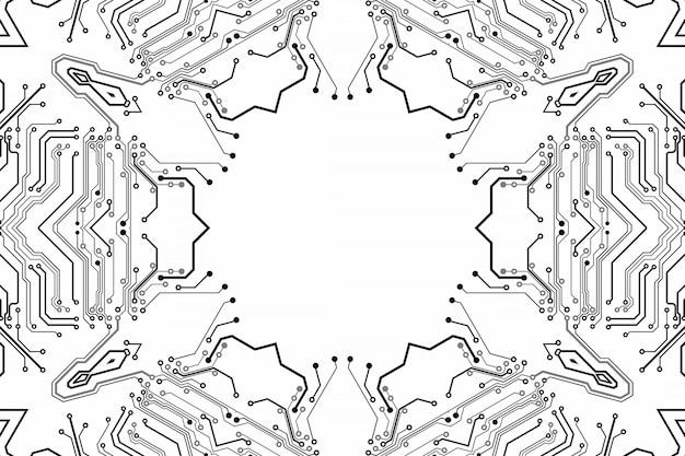 Scheda elettronica con chip. modello high-tech elettronico del circuito stampato, tecnologia digitale. chip di computer astratto dell'illustrazione. microchip monocromatico nero, isolato su sfondo bianco
