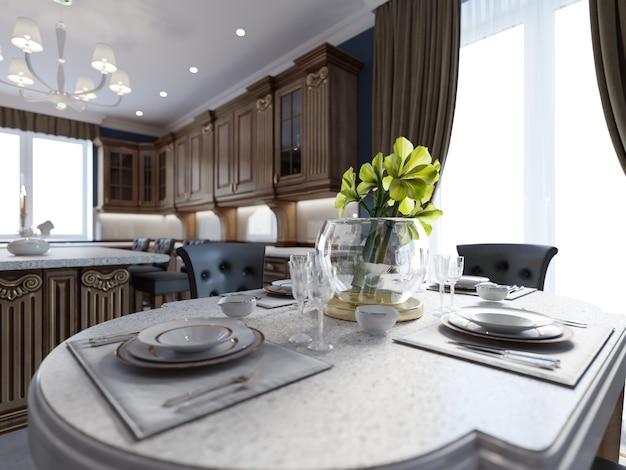 Tavolo elegance allestito per la sala da pranzo. rendering 3d